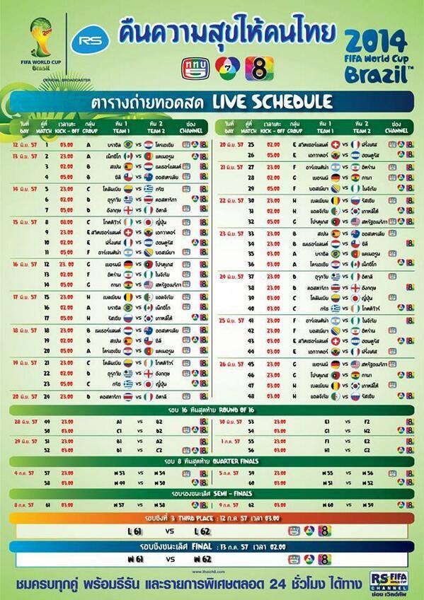 ワールドカップ2014 タイでの放送スケジュール