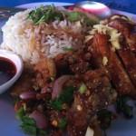 魚のラープと鶏のテリヤキが美味しいカオマンガイの店
