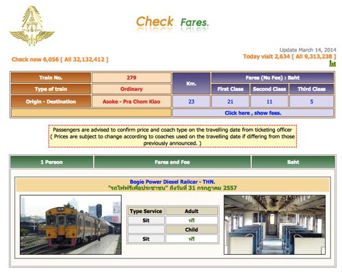 タイ国鉄 Web時刻表